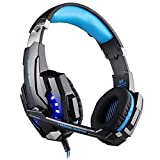 Gaming Headset, KOTION EACH G9000 PC Gaming Over-ear Headphones 3.5mm Stereo Jack with Microphone LED Light and Headset Splitter Adapter for PS4/Table