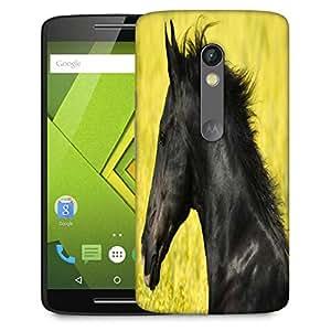 Snoogg Black Horse Designer Protective Phone Back Case Cover For Moto G 3rd Generation
