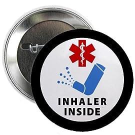INHALER INSIDE Black Ring Medical Alert 2.25 inch Pinback Button Badge