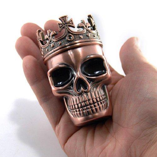 Cute Crowned King Skeleton Skull Design Novelty Copper Tone Metal Spice Grinder Pollen Screen Great Gift