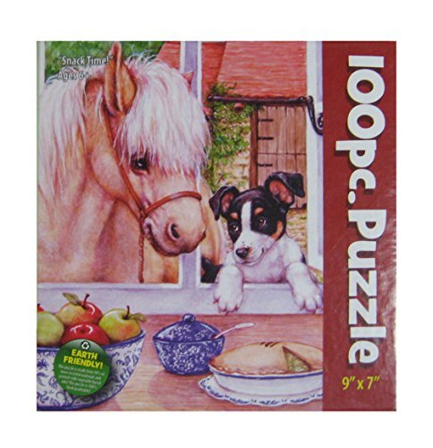 "Snack Time! 100 Piece Puzzle Pony Horse Puppy Dog Scene 9 x 7"" - 1"