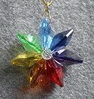 Dark Rainbow Daisy Ornament with Swarovski Crystal
