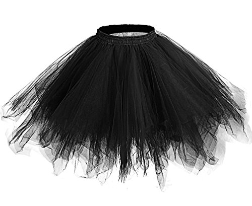 Lamgo Women's Short Vintage Petticoat Ballet Bubble Tutu Skirt Crinolines Black Large/X-Large (Petticoat Junction Season 4 compare prices)