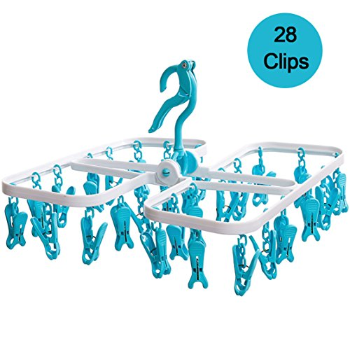 Plastic Foldable Portable Underwear Hanging Dryer Clothes Drying Hanger Rack with 28 Clips, Blue (Clip Clothes Dryer compare prices)