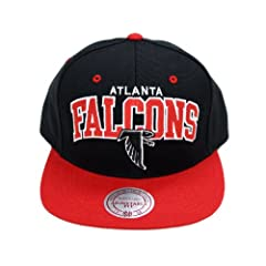 Mitchell and Ness NFL Atlanta Falcons Black Arch Snapback Hat, Cap by Mitchell & Ness