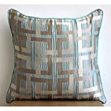 Opulence - 20x20 inches Square Decorative Throw Pillow Covers in Sea Green & Pearl Geometric Pattern