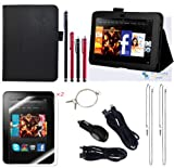 The Friendly Swede (TM) PU Leather Case Cover Bundle for Kindle Fire HD 7 Inch in Retail Packaging (NOT Compatible With Kindle Fire) (Black)