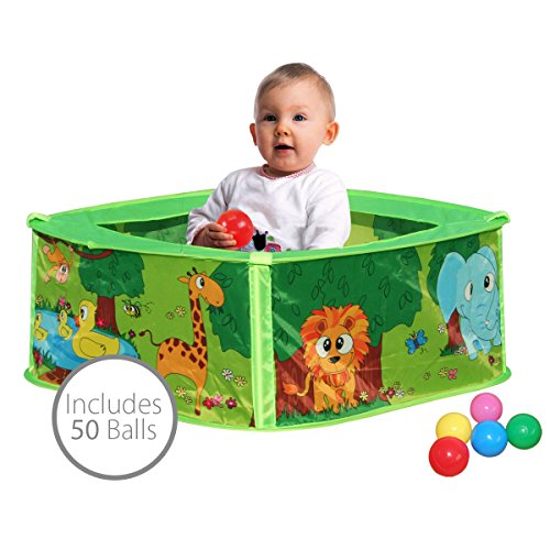 Charles Bentley Kids Baby Animal Indoor Pop Up Play Pen Portable Ball Pit Pool Including 50 Balls