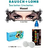 Natural Look Quarterly Hazel Color Zeropower Colorered Contact Lens With Free Cleanzol Lens Care Kit (2 Lens Pack...