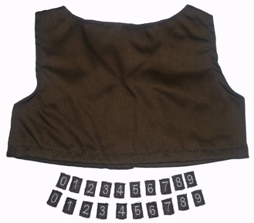 """Brownie Vest with Iron on Numbers Teddy Bear Clothes Outfit Fits Most 14"""" - 18"""" Build-A-Bear, Vermont Teddy Bears, and Make Your Own Stuffed Animals"""