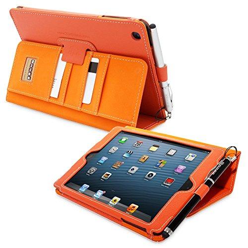 Custodia Esecutivo In Pelle Arancione Per iPad Mini & Mini 2 - Custodia Con Supporto Flip-Stand, Tasca, Scomparto Per Biglietti Da Visita, Cinturino Elastico Per Il Polso e Rivestimento Interno Di Qualità In Nabuk - Capacita Automatica Di Riattivare o Mettere In Modalità A Riposo Il Vostro Apple iPad Mini & Mini 2 . Garanzia A
