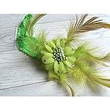 Verde.Diadema Pelo Bebé/Niña, modelo flor + plumas