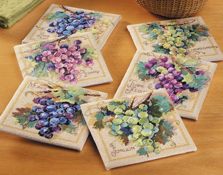Grapes Coasters Needlepoint Kit