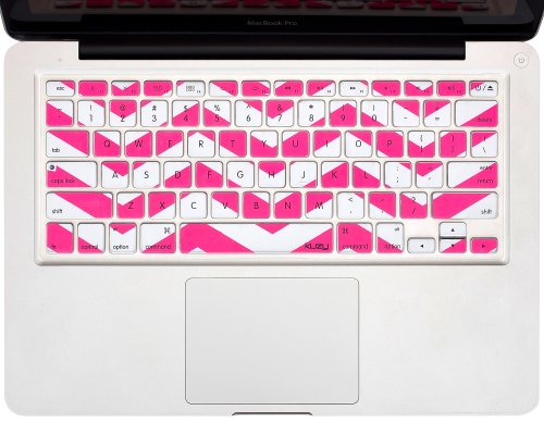 "Kuzy - Pink Chevron Zig-Zag Keyboard Cover For Macbook Pro 13"" 15"" 17"" (With Or W/Out Retina Display) Imac And Macbook Air 13"" Silicone Skin - Pink"