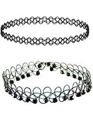 Choker Combo For Girls – Simple And Beads Choker Set – Stylish And Modern Choker Necklace Set Of 2 For Friends...