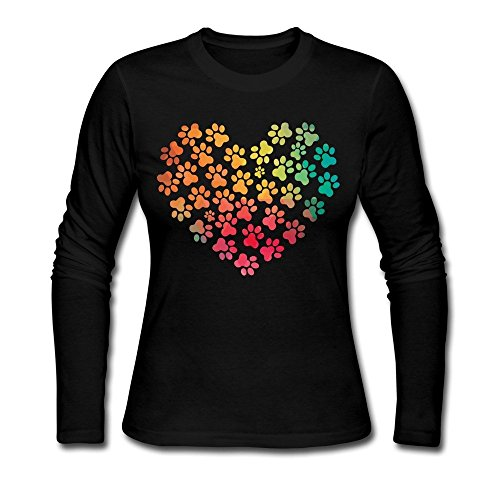 Twiner naber Natural Cotton Women's Colorful Dog Paws Heart Logo T-shirts Black