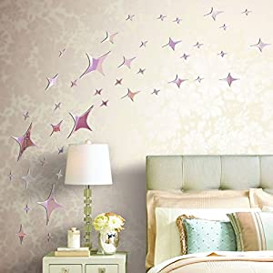 Wall Decor - 44 Pcs3D DIY Stars Mirror Surface Wall Stickers Art Mural Mixed Colors Large Purple from Mark8shop