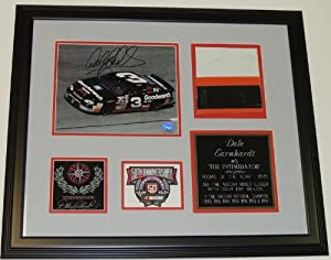 Dale Earnhardt Sr Autographed Hand Signed 8x10 Photo - Custom FRAME with HUGE piece... by Real Deal Memorabilia