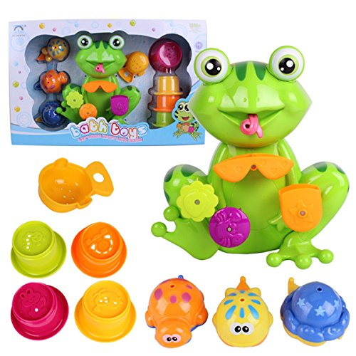Funny Frog Bath Toy - Bright Colors, Non-toxic - Interactive,