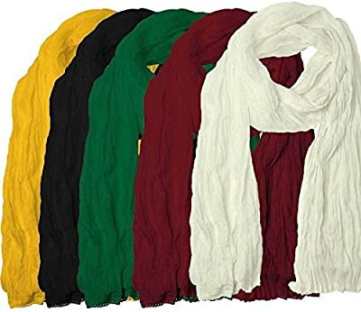 Women's Cotton Dupatta (Yellow, Black, Green, Maroon and White) 2.0 Mtr