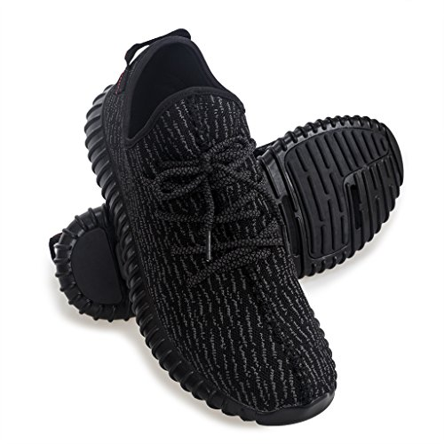 Yasmine Fashion Lightweight Sneakers Unisex Shoes for Couple Men Women All Black 38