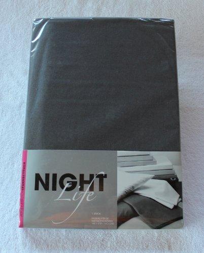 NightLife Jersey Spannbettlaken Farbe grau Größe 180 x 190 bis 200 x 200 cm Spannbettuch Spannlaken mit Rundumgummi 100% Baumwolle