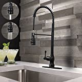 VAPSINT Modern Single Lever One Handle Spring Sprayer Pre Rinse Pull Down Stainless Steel Pull Out Oil Rubbed Bronze Kitchen Faucet, Commercial Bronze Kitchen Sink Faucet