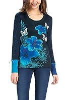 Desigual Veriona - T-shirt - Imprimé - Col rond - Manches longues - Femme