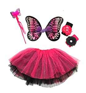 Girls 4pc Monarch Butterfly Fairy Costume Set. Color: Hot Pink and Black