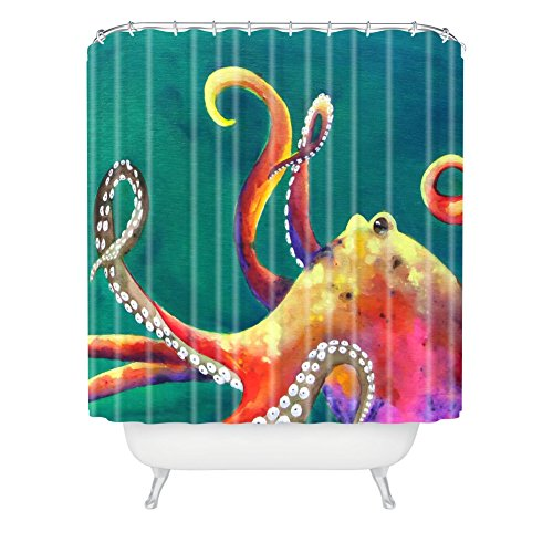 Deny Designs Clara Nilles Mardi Gras Octopus Extra Long Shower Curtain, 71 By 94-Inch front-385558