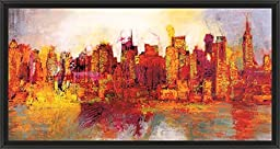 41in x 21in Abstract New York City by Brian Carter - Black Floater Framed Canvas w/ BRUSHSTROKES