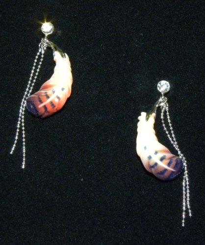 Franz Porcelain Feather Rhodium plated brass & porcelain earrings