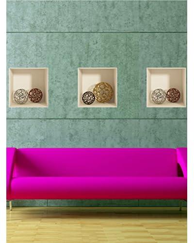 Ambiance Live Vinilo Adhesivo Reposicionables Con Efecto 3D Esferas Design Multicolor