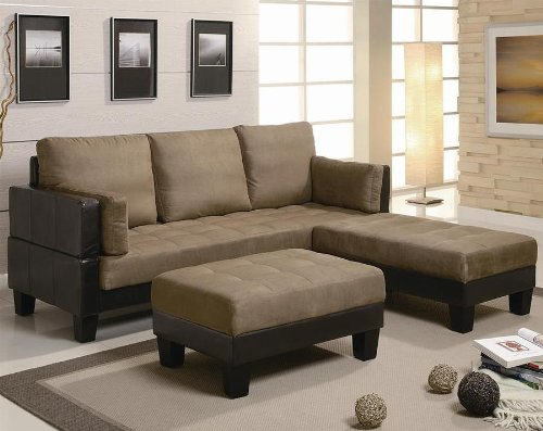 3 Piece Sofa Bed Set Tan Microfiber/Brown Vinyl