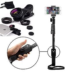 Shopizone Yunteng YT 1288 Bluetooth Selfie Stick with 3 in 1 Metal Body Mobile Camera Lense Kit Combo For Apple, Samsung, HTC, Lenovo, Oneplus, Motorola, Nexus, Xiaomi Redmi Note 3, Coolpad Note 3 Plus, Lenovo Zuk Z1 / Vibe k5