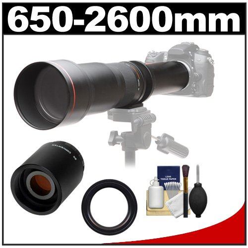 Vivitar 650-1300Mm F/8-16 Telephoto Lens (Black) With 2X Teleconverter (=2600Mm) + Accessory Kit For Canon Eos 6D, 70D, 5D Mark Ii Iii, Rebel T3, T3I, T4I, T5, T5I, Sl1 Dslr Cameras