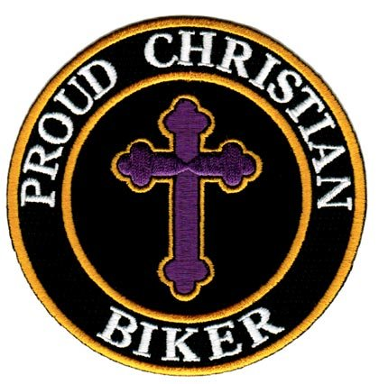Proud Christian Biker Embroidered Patch Jesus Chris Iron-On Religious Cross Emblem