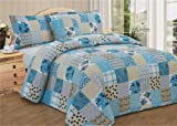 Patchwork Multi Blue Bedspread Quilted Comforter Throw Double Bed Floral Traditional Country Cottage