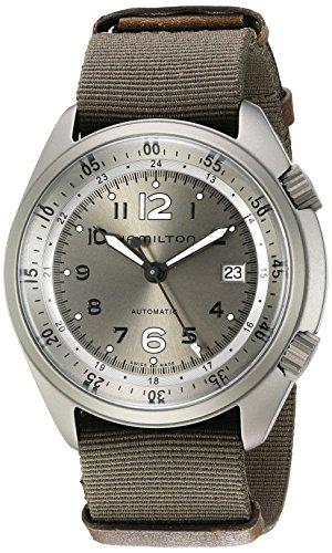 Hamilton Khaki Aviation de hombre de acero inoxidable y lienzo automático suizo reloj de vestido, color: verde (Modelo: h80405865)