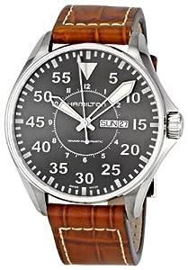 (6.1折)Hamilton Men Khaki Pilot Grey Dial Watch汉密尔顿男士腕表$602