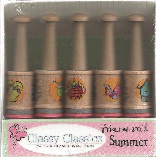 Mara-Mi Summer Wood Mounted Peg Rubber Stamp Set (3088)