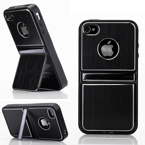 Cell Phones & Accessories BLACK Aluminum TPU Hard Case Cover W/Chrome Stand For iPhone 4 4G 4S & Screen Protectors + Stylus
