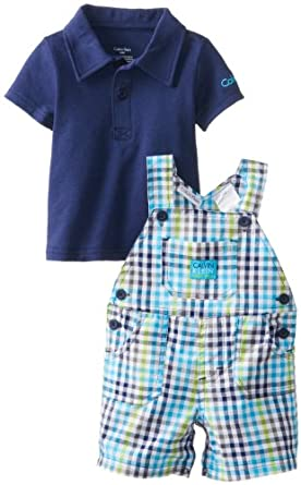 Calvin Klein Baby-Boys Newborn Polo Top with Plaided Shortall, Navy, 3-6 Months