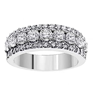 2.00 CT TW Prong Set Round Diamond Anniversary Wedding Ring in 14k White Gold - Size 7.5