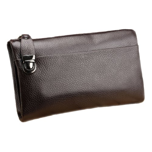 Men's Classic High Quality Genuine Leather Business Bag Day Clutch Zip Wallet