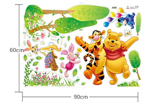 Popular Wennie Bear And Tiger Pvc Stickers Wall Decorkids Wall Decal Home Decorremovable Wall Murals front-1024676