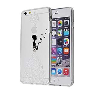 iPhone 6 Case, iPhone 6S Case, MagicSky Translute Design Slim-fit TPU Gel Soft Case Anti-Scratch Translute Back Panel Cover for iPhone 6 / iPhone 6S - Butterfly and Woman