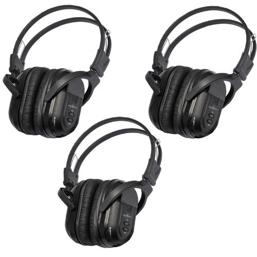 3 Pack of Two Channel Folding Universal Rear Entertainment System Infrared Headphones Wireless IR DVD Player Head Phones for in Car TV Video Audio Listening (Dvd Player For 2009 Dodge Journey compare prices)
