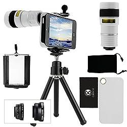 CamKix 9 Piece Camera Lens Kit for iPhone 5 including 1 White 8x Telephoto Lens / 1 Fish Eye Lens / 1 Macro Lens / 1 Wide Angle Lens / 1 Mini Tripod / 1 White Hard Case / 1 Universal Phone Holder / 1 Velvet Phone Bag / 1 Cleaning Cloth (White)