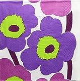 (D246')ペーパーナプキン マリメッコ ウニッコ Unikko白×紫 1枚 バラ売り marimekko ●YOU●